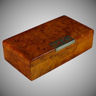 Antique French Burl Yew Wood box with Initials M D