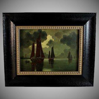 French School Oil on Panel Twilight Maritime Scene
