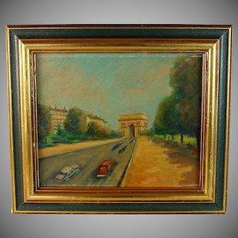 Oil on Panel View of Paris Arc de Triomphe