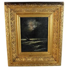 American School Tonalist painting of a Ship on Stormy Seas