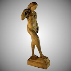 Seductive Sculpture of a Young Woman by Swiss Artist Gaston Beguin