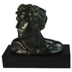 Bronze Head of a Man by Alexandre Ouline (1918-1940)