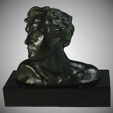 Bronze Head of a Man by Alexandre Ouline (1918-1940)