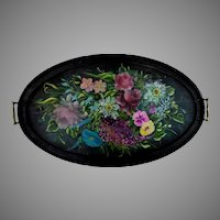 Antique Hand Painted Oval Toleware Tray with Handles
