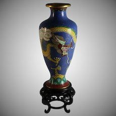 Vintage Chinese Cloisonne Vase Dragon with Stand