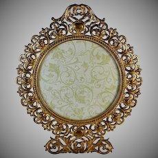Vintage Gilt Cast Iron Counter Vanity Mirror