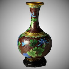 Chinese Cloisonne Vase Peonies with Stand