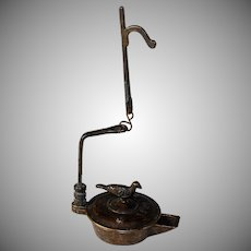 Grand Tour Bronze Roman Oil Lamp, Dated 1868