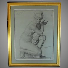 Charcoal on Paper Drawing by French Listed Artist Gabriel Peyron-Bernard