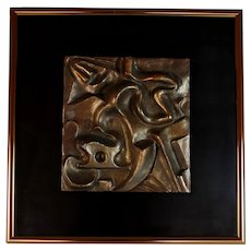 Brutalist Bronzed Relief Wall Sculpture