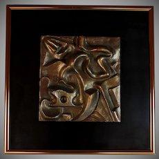 Brutalist Bronzed Relief Wall Sculpture