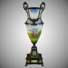 Antique French Porcelain Vase Urn with Bronze Handles