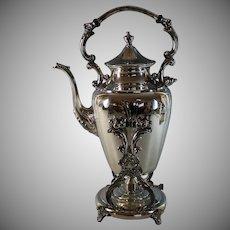 Vintage Silverplate Hot Water Coffee Samovar Urn w Tap Dispenser & Burner