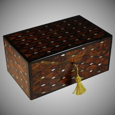 Stunning Vintage Inlaid Wood and Mother of Pearl Tea Caddy