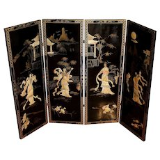 Vintage Asian Coromandel Black Lacquer Four Panel Folding Screen