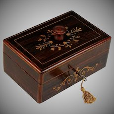 Antique French Charles X Inlaid Wood Dresser Box with Key