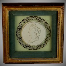 Large Grand Tour Framed Intaglio of a Roman Lady