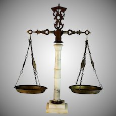 """Vintage White Carved Marble and Brass Metal Ornate Scales of Justice 24"""""""