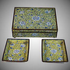 Vintage Chinese Cloisonne Box with 2 Dishes, Famille Jaune Canton