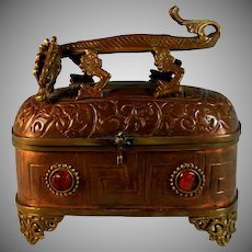 Vintage Copper Box with Griffin/Dragon Handle