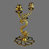 Antique Brass Figural Candelabra Fish Shape