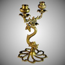 Antique Brass Figural Candelabra Fish Shape