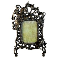 Antique Bronze Photo frame with Knight on Horse
