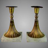 Pair of Brass Mid Century Modern Candlesticks