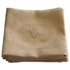 Antique French Monogrammed Napkins L J Set of 12
