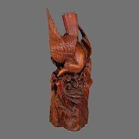 Hand Carved Wood Folk Art American Eagle Sculpture