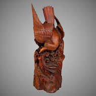 Hand Carved Wood Folk Art American Eagle Sculpture