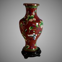 Vintage Chinese Red Cloisonne Vase Butterflies with Stand