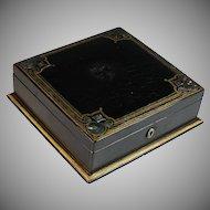Antique Papier Mache Square Jewelry Box, Casket, Painted, MOP