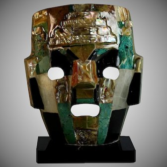 Modernist Mask sculpture with Mixed Semi Precious Elements
