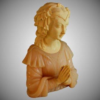 G. Ruggeri Sculpture of a Young Woman Praying