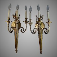 Pair of Antique Italian Gilt Bronze Candle Sconces 3 Lights