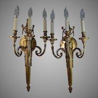Pair of Antique Italian Gilt Bronze Candle Sconces 3 Lights