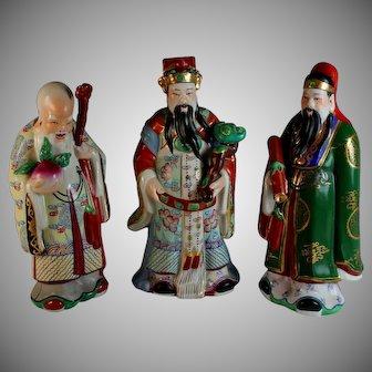 Sanxing (Three Stars) Chinese Gods; Shou-Hsing, Fu-Hsing & Lu-Hsing Signed