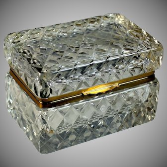 Antique Cut Beveled Crystal Ormolu Casket Jewelry Box Beautiful Heavy