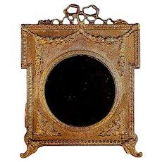 Antique Cast Iron Bow Top Photo Frame