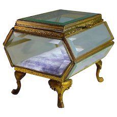 Antique Ormolu Casket Jewelry Box Beveled Glass