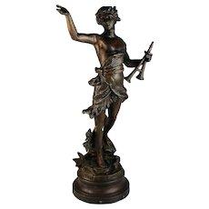 Antique Bronzed Metal Sculpture of Daphnis By Bruchon