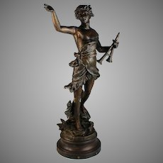 Antique Bronzed Metal Sculpture of Daphnis By Bruchon
