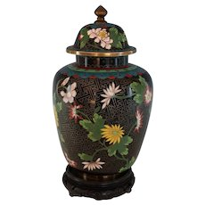 Old Chinese Cloisonne Covered Urn Box with Stand