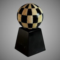 Antique White Black Sphere Ball on Stand Desk Accessory Ornament