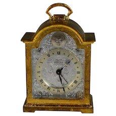 Tempus Fugit Swiza Swiss Brass Carriage Desk Alarm Clock with Case
