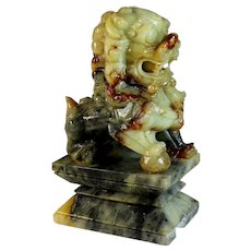 Vintage Chinese Marbled Jade Foo Dog Temple Lions