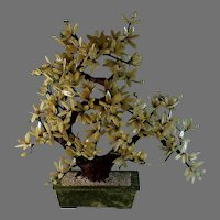 Vintage Large Chinese Jade Tree Cherry Blossoms