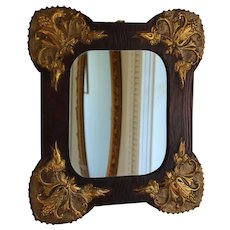 Vintage Art Nouveau Wall Mirror with Gilded Corner Decorations