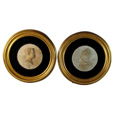 Set of Antique Round Portrait Relief Sculptures of a French Couple 1884